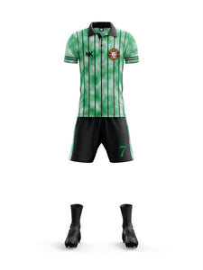 Green and black men's football kit