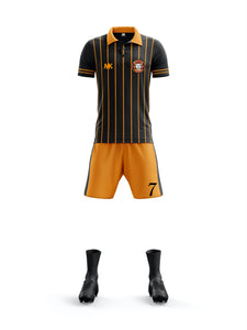 orange and black boys football kit