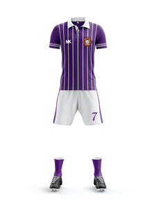 purple and white men's football kit