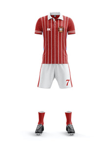 red and white men's football kit