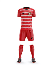Red and white boys football kit