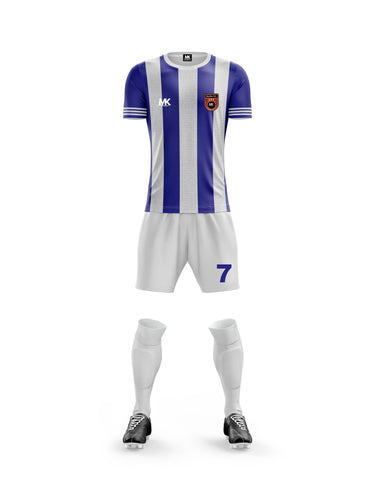 blue and white boys football kit