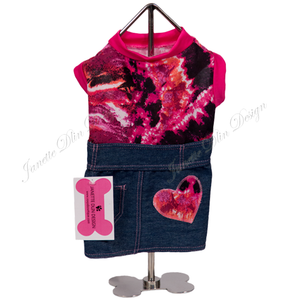 Angel Heart Denim Dress - Janette Dlin Design - Dog Dress