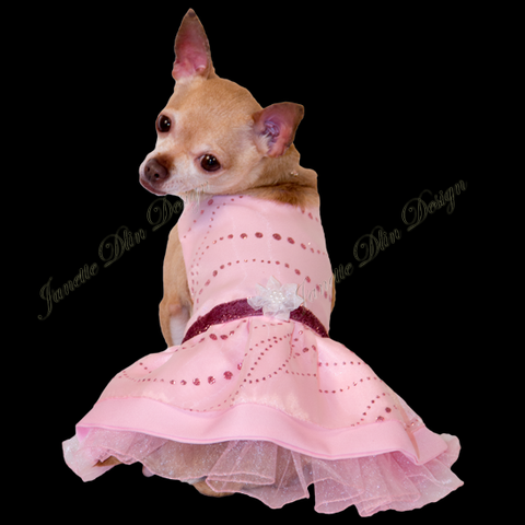 Ariel's Sparkling Pink Dress - Janette Dlin Design - Dog Dress