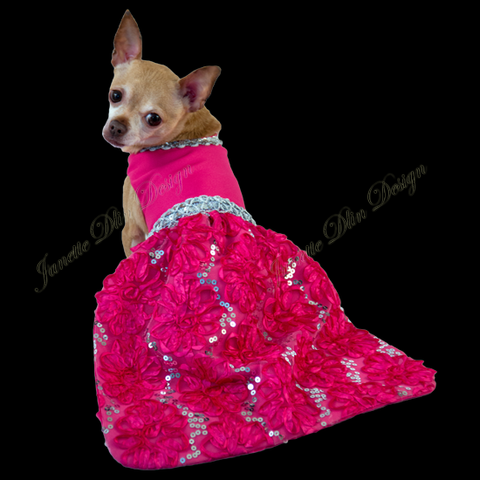 Fuchsia Glow Evening Dress - Janette Dlin Design - Dog Dress