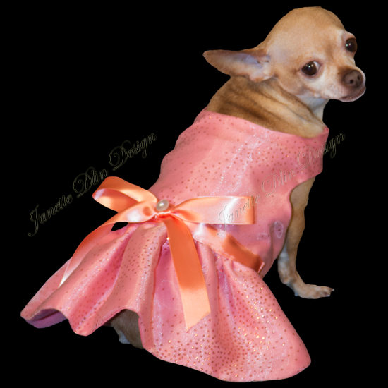 Glittering Coral Dress - Janette Dlin Design - Dog Dress