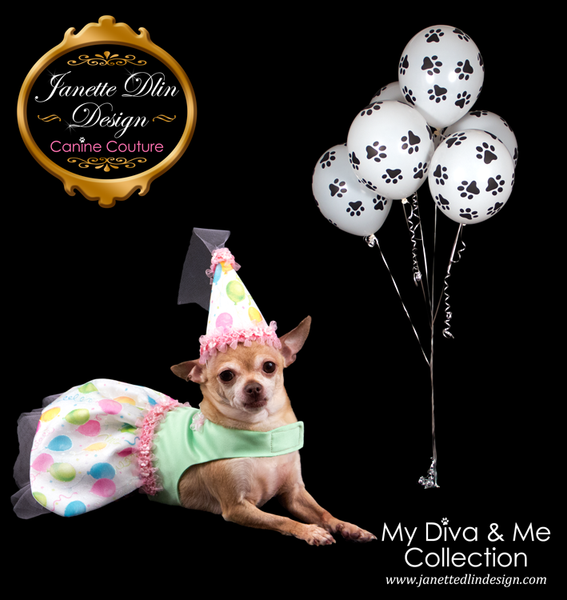 Happy Birthday to You Dress and Hat - Janette Dlin Design - Dog Dress