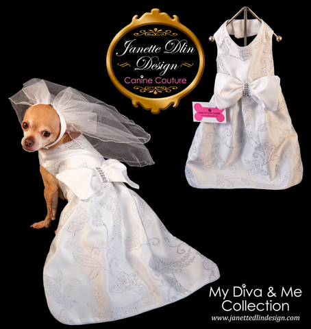 Yes, I Do!! Wedding Dress - Janette Dlin Design - Dog Dress and Veil