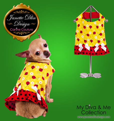 Ladybug Top - Janette Dlin Design - Dog Dress
