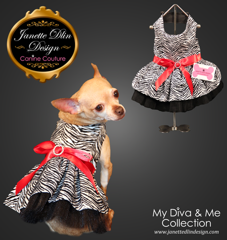 Safari Girl: Zebra Dress - Janette Dlin Design - Dog Dress
