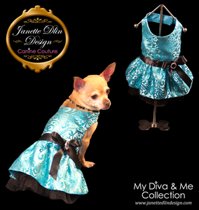 Shimmering Turquoise Party Dress  - Janette Dlin Design - Dog Dress