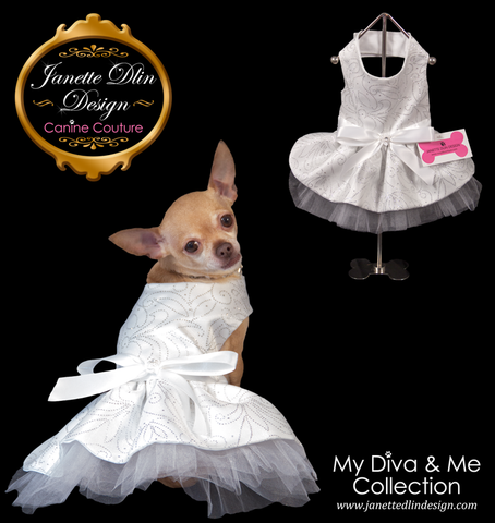 Sparkling White Princess Dress - Janette Dlin Design - Dog Dress