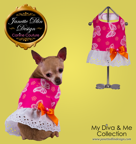 Spring Butterfly Top  - Janette Dlin Design - Dog Dress