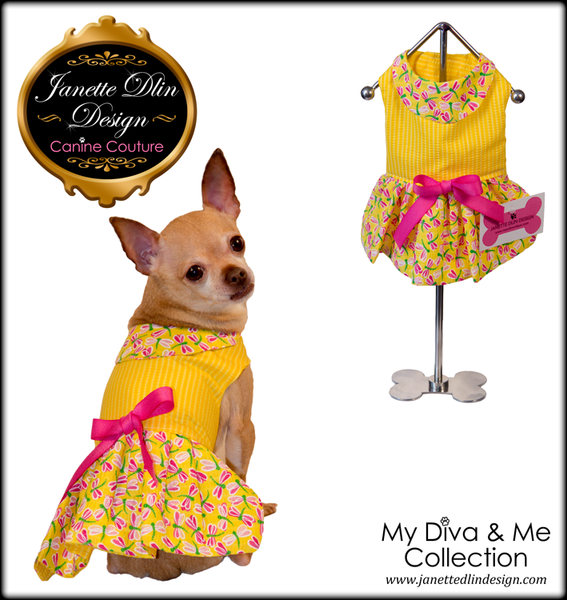Yellow Dragonfly Dress  - Janette Dlin Design - Dog Dress