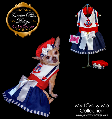 Nautical Girl Dress - Janette Dlin Design - Dog Dress