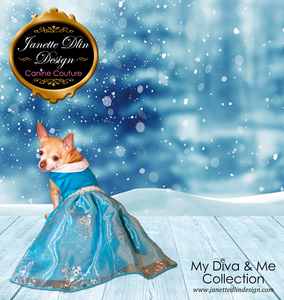 Royal Sparkling Snowflake Dog Dress - Janette Dlin Design