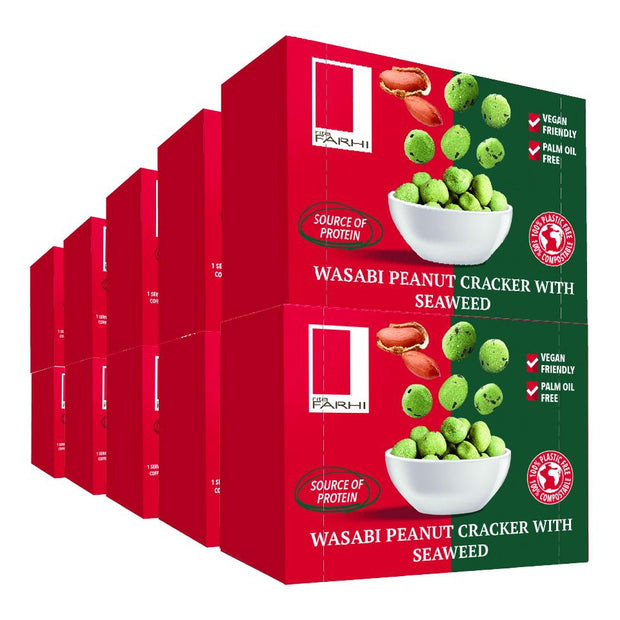 Wasabi Peanut Crackers with Seaweed in a Snack Box X10 RJF Farhi
