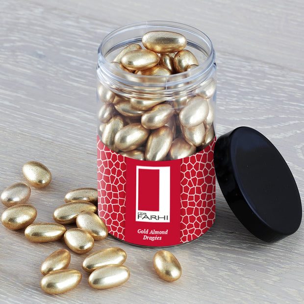 Gold Coated Almonds in a Gift Jar RJF Farhi