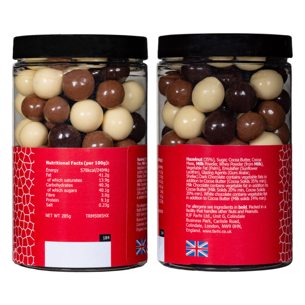 Assorted Chocolate Coated Hazelnuts in a Small Gift Jar RJF Farhi