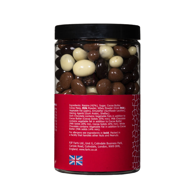 Assorted Chocolate Coated Raisins in a Gift Jar RJF Farhi