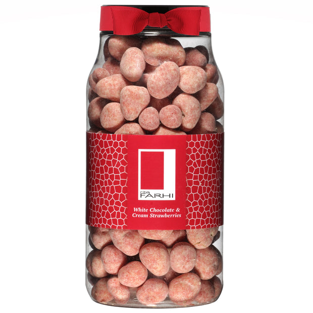 Rita Farhi Creamy Belgian White Chocolate Coated Strawberries Dusted with Strawberry in a Gift Jar RJF Farhi
