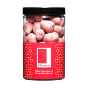 Cream and Belgian White Chocolate Coated Strawberries Dusted with Strawberry in a Small Gift Jar RJF Farhi