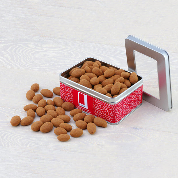 Cinnamon Dusted Milk Chocolate Almonds Coated in a Gift Tin RJF Farhi