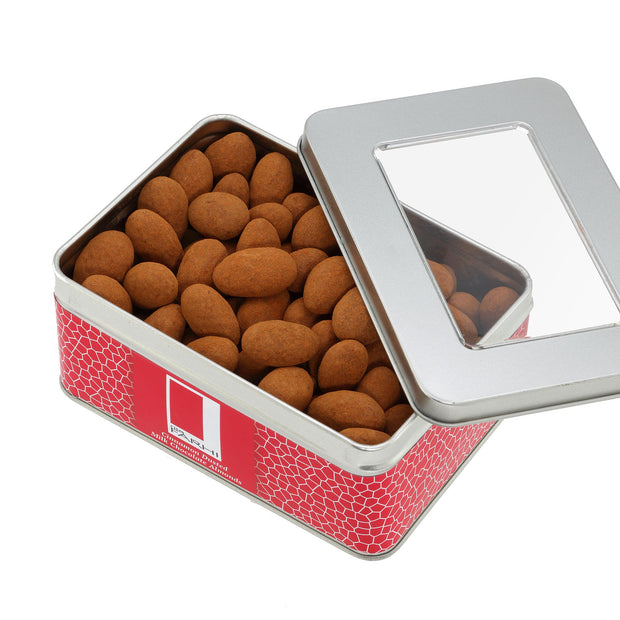 Rita Farhi Almonds Coated in Milk Chocolate and Dusted with Cinnamon Presented in a Gift Tin RJF Farhi