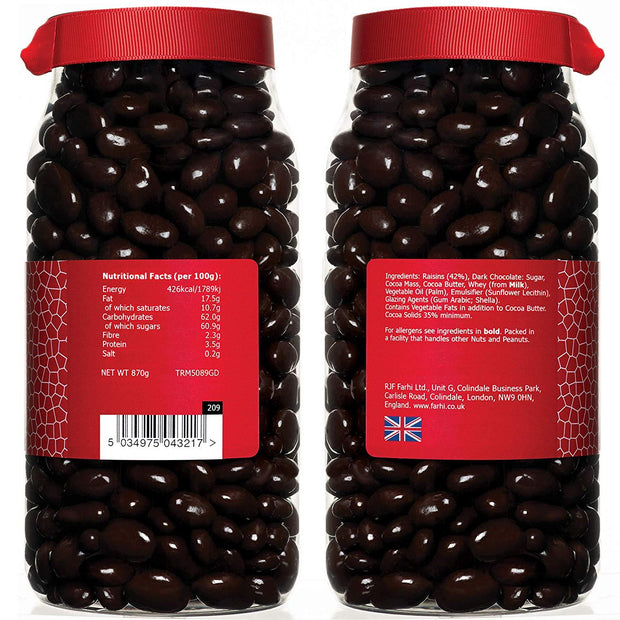Rita Farhi Dark Chocolate Coated Raisins in a Gift Jar