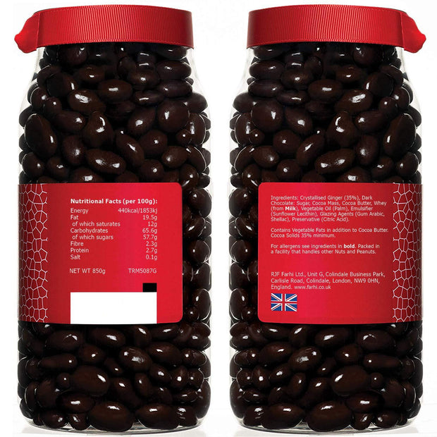 Rita Farhi Dark Chocolate Covered Ginger in a Gift Jar Rita Farhi