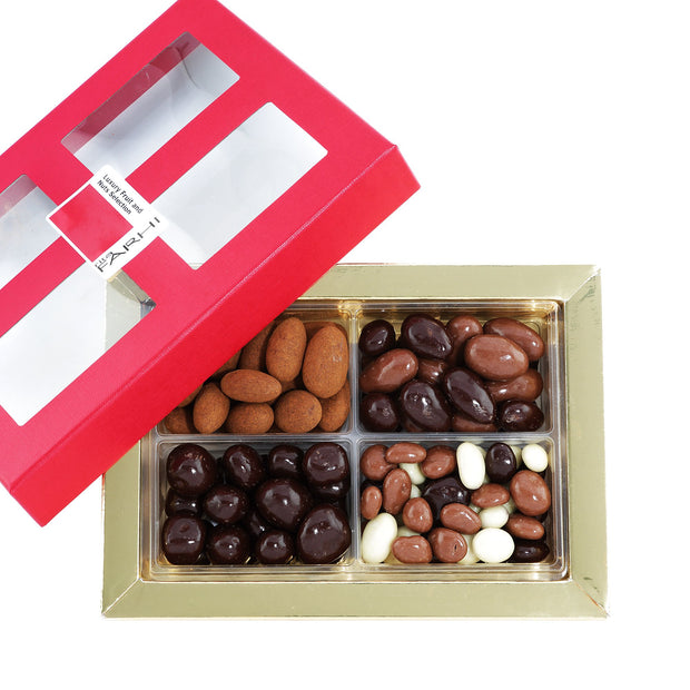 Farhi Fruit and Nut Selection Coated in Belgian Milk and Dark Chocolate in a Gift Box RJF Farhi