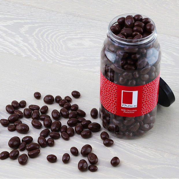 Belgian Milk Chocolate Coated Pistachios in a Gourmet Gift Jar RJF Farhi