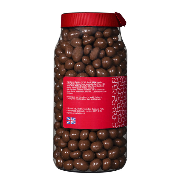 Farhi Milk Chocolate Coated Raisins in a Gift Jar RJF Farhi