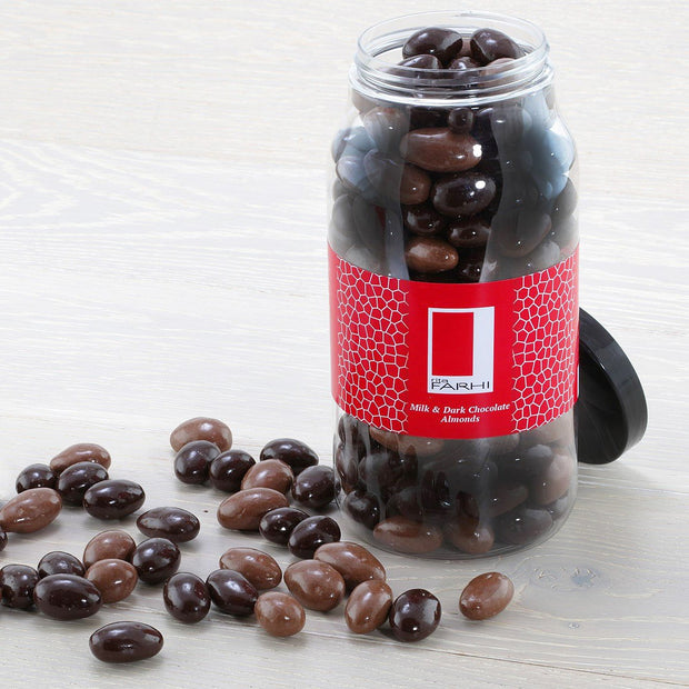 Milk and Dark Chocolate Coated Almonds in a Gourmet Gift Jar RJF Farhi