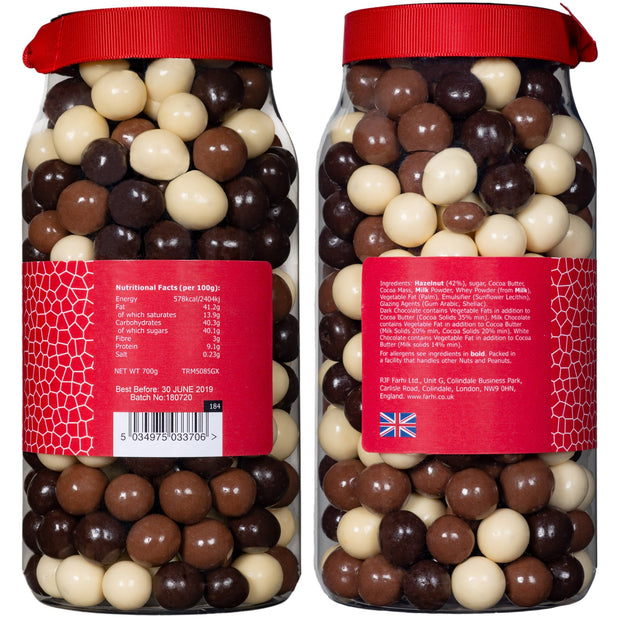 Rita Farhi Milk, Dark and White Chocolate Coated Hazelnuts in a Gift Jar RJF Farhi
