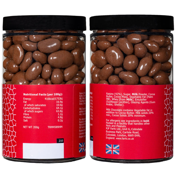 Milk Chocolate Coated Raisins in a Small Gift Jar RJF Farhi