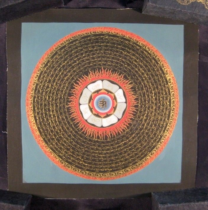 Mixed Gold Ohm Mandala Thangka Thanka Tanka painting Nepal Himalayan Art A3