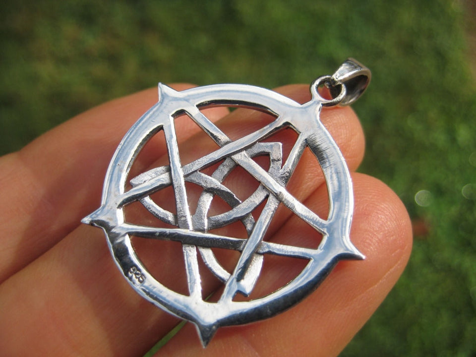 925 Sterling Silver Wicca Pentagram Pendant Necklace Wicca Magic A40
