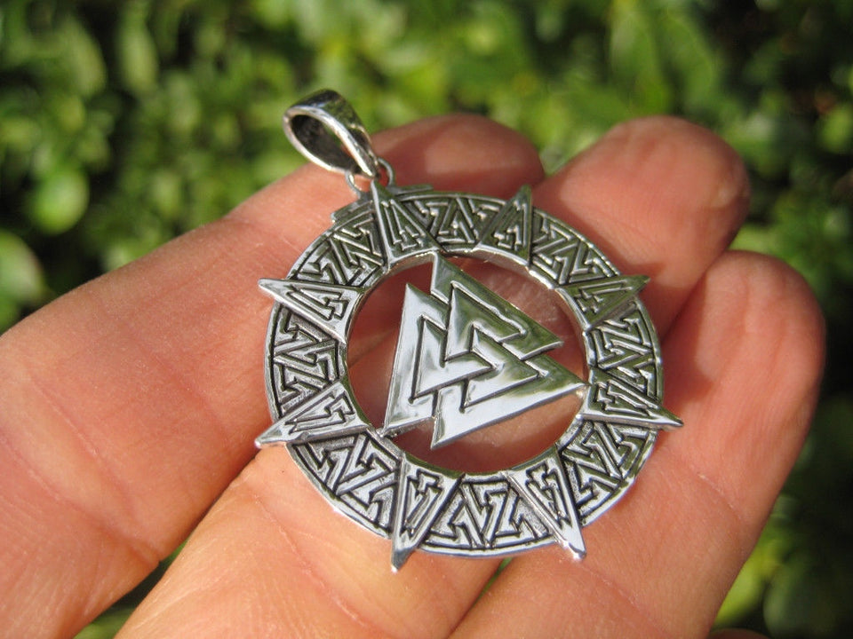 925 Silver Valknut Triquetra Triangle Norse Viking Celtic Odin Pendant Necklace