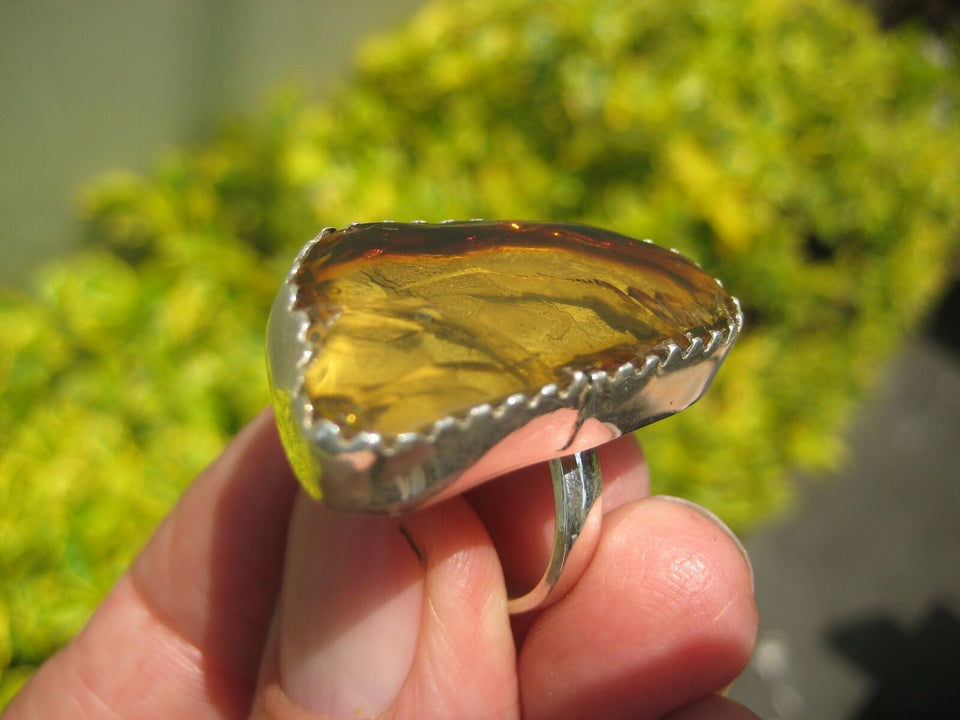 925 Silver Amber Ring Taxco Mexico Size 6 ( Adjustable ) A8566