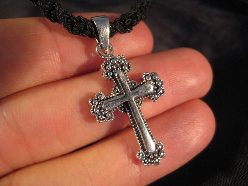 925 Sterling Silver Cross Pendant necklace jewelry art A9
