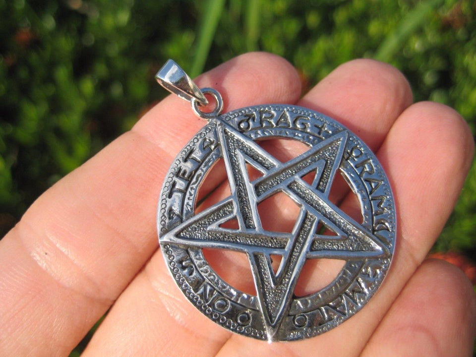 Extra Large 925 Sterling Silver Wicca Pentagram Pendant Necklace A18