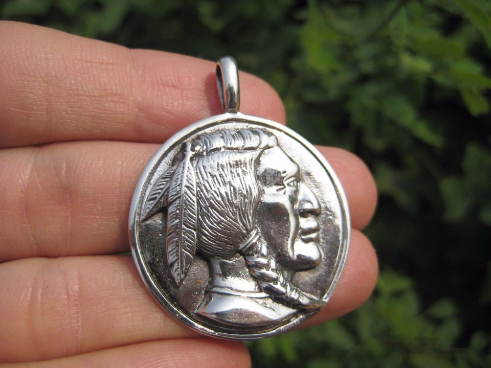 925 Silver Native American Indian pendant necklace Thailand jewelry art A2