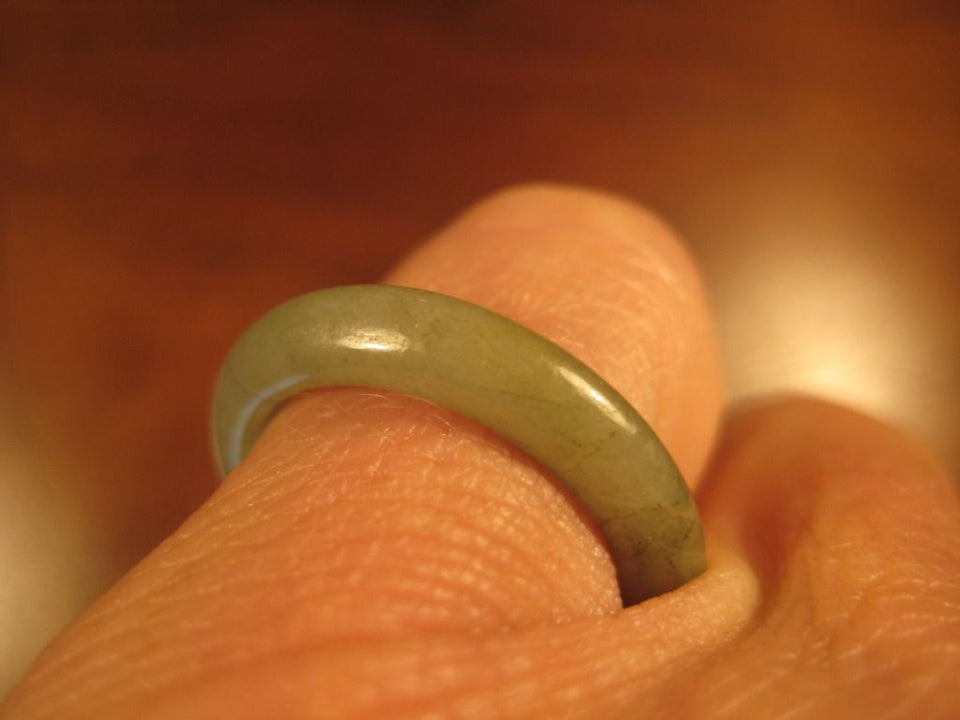 Natural  Jadeite Jade ring stone mineral carving  Size 6.75 US  A2109