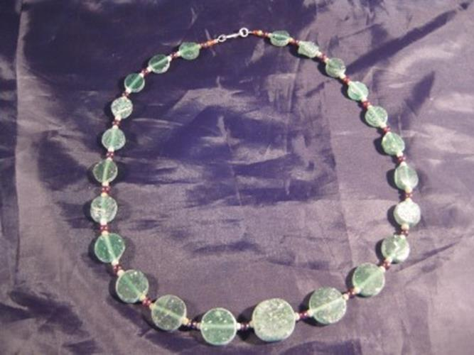 925 Silver Roman Glass Antique Green Bead Necklace N3866