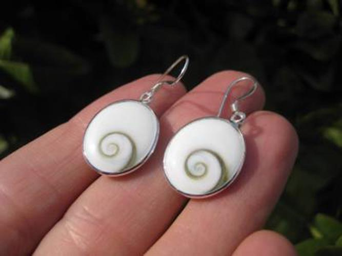 925 Silver Shiva eye shell earrings earring Thailand jewelry art N2766