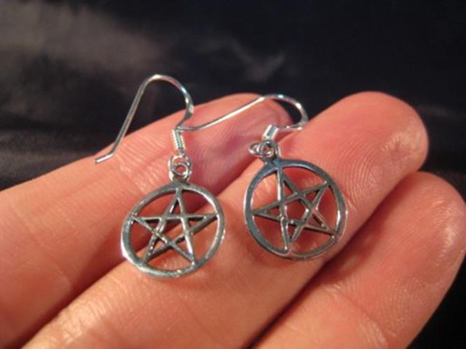 925 sterling silver wicca pentagram earring earrings N3866