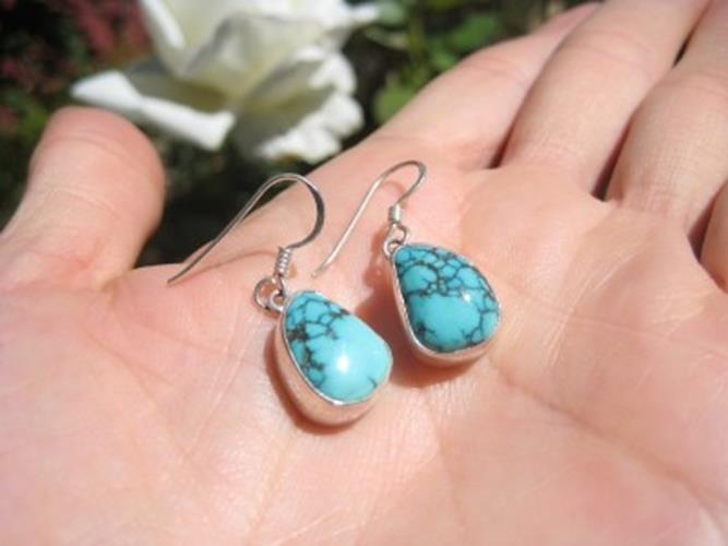 925 Silver Himalayan Turquoise earrings Nepal  N3877