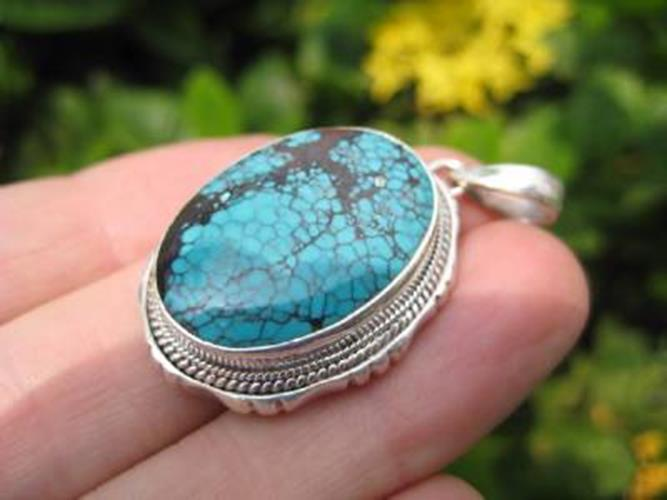 925 Silver Tibetan Turquoise stone crystal Pendant Necklace Nepal N3655