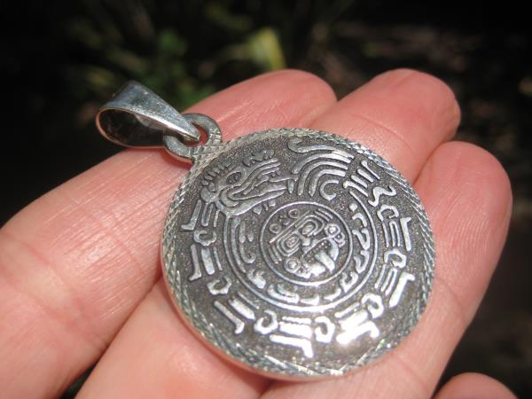 925 Silver Mayan God Head Pendant Necklace Taxco Mexico A3766
